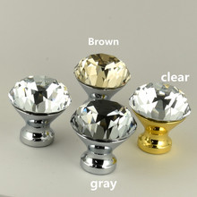 Modern fashion clear gray brown glass crystal drawer tv table knobs pulls silver gold cupboard dresser dor handle 25mm 30mm 40mm(China)