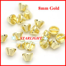 2013 fashion plastic spike 8mm gold 500pcs/lot studs nailhead DIY clothes accessories sewing glue on