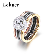 Lokaer Colorful Gold CZ Crystal Life Tree Rings Jewelry Titanium Steel Wedding Engagement Ring For Women Gift Anneaux R180150533(China)