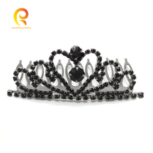IweddingJewelry Hair Comb Tiaras Copper Rhinestone Tuck Comb for Woman Black Gun Plated Gift for Ladies Wedding Hair Ornament