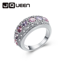 1Pc Silvery Pink & White Ring Bijoux Personalized Jewelry Girl Fashion Gift Knuckle Beauty Size 6 7 8 9 10 11 12 Retail