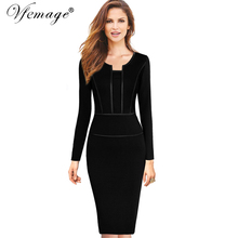 Vfemage Womens Autumn Long Sleeves Elegant Vintage Slim Wear To Work Office Business Casual Sheath Bodycon Pencil Dress 7476(China)