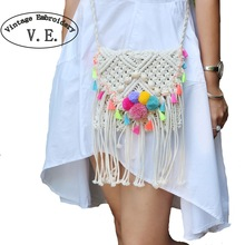 Vintage Embroidery Women Bag Braid Fringed Knitted Holiday Beach Handbag Pompom Ball Bohemian Woven Straw Shoulder Messenger Bag