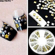 Nu-TATY 300 pcs 12 Style Metal Glitter Nail Art Rhinestone, Gold Silver Color Tips Crystal, Sequins for 3D Nail Art Decoration(China)