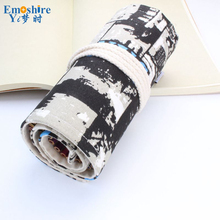 Good Quality 36/48/72 Holes Canvas Pencil Case Roll Up Sketch Painting Pen Box School Office Pencil Stationery Bag B066