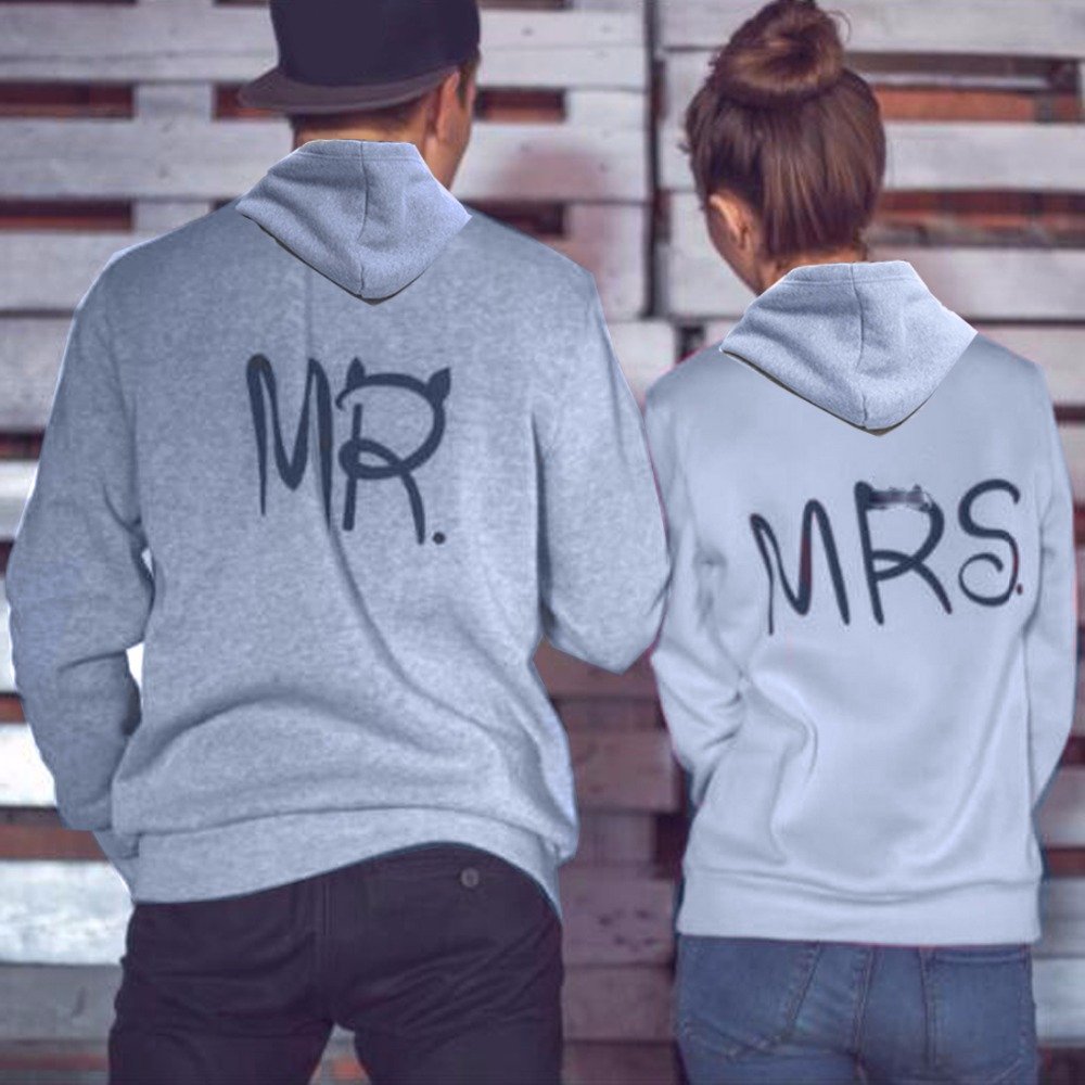 MR MRS hip hop brand Print grey anime Hoodie Sweatshirt women Men female Male loves Couple down Jacket Coat clothes detroit