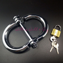 Buy S/M/L Size Stainless Steel Hand Cuffs Bondage Restraints Lockable Shackles Fetter Metal Wrist Cuffs Fetish Adult Game Sex Toys