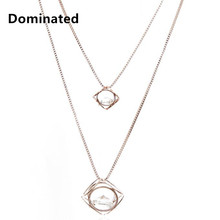 2016 New Women Pendant Necklaces Hollow Double Crystal Ball Sweater Chain Necklace Jewelry Wholesale(China)