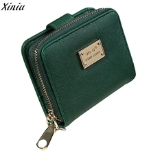 Clutch Women Graceful Green Leather Short Purse Fashion Short Small Wallet Bag Card Holder Handbag Borse #7316