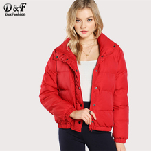 Dotfashion Loose Red Puffer Coat Korean Oversize Puffer Coat Woman Christmas Coat Female Puffer Jacket(China)