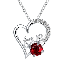 Silver Plated Red Zircon Love Heart Pendant Chain Necklaces Fashion Women girls Wedding Bridal Austrian Crystal Jewelry Gifts