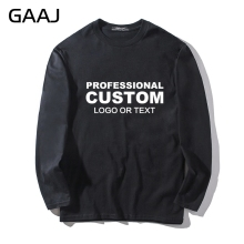 GAAJ Custom Embroidery Print Logo Name T Shirt Long Sleeve For Mens Women Unisex Streetwear Clothing T-shirt Tee Drop Shipping(China)