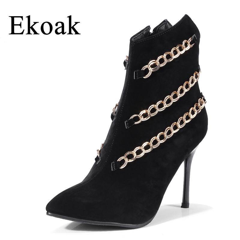 Ekoak New 2018 Fashion Metal Chain Women Boots Spring Flock Zip Women Ankle Boots Ladies High Heels Shoes Woman Rubber Boots<br>
