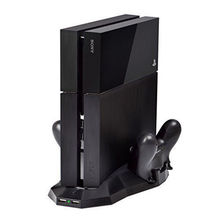 Mount Cradle Dual Charging Station Holder Support Steady Vertical Stand Dock with Cooling Fans Cooler For Sony Playstation 4 PS4