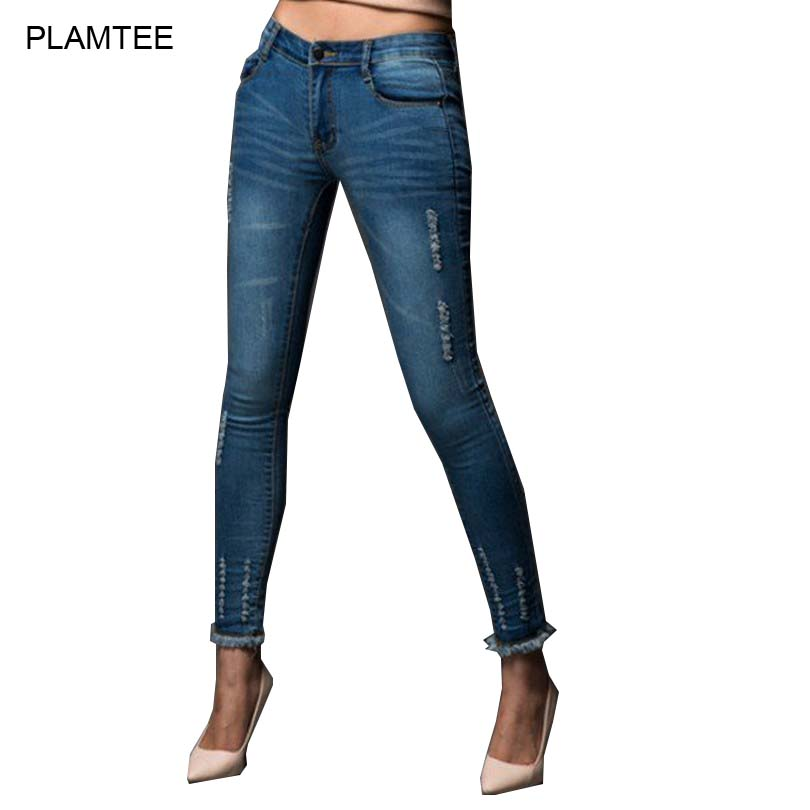 2017 Spring Thin Ladies Ripped Jeans Burr Slim Fit Demim Pants Plus Size 26-32 Womens Jeans Fashion Pockets Solid Pencil PantsОдежда и ак�е��уары<br><br><br>Aliexpress