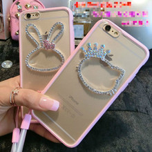 fashion Mickey Hello Kitty Phone Case for Samsung Galaxy S8 S8 Plus S6 Edge Plus S7 S7 Edge   Rhineston gem soft protection