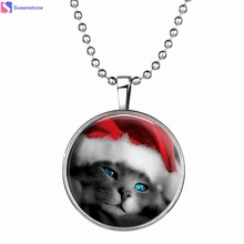 Christmas lovely of cat necklace Lovely Christmas Cat Necklace 60cm Wonderful gift Special design #45(China)