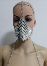 Buy New Arrival B741 Women Sexy Silver Fish Scale Mask Head Chains Jewelry Unique Design Layers Fish Scale Face Mask Chains Jewelry for $15.99 in AliExpress store