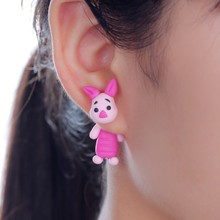 W-AOE New Design DIY Handmade Lovely Big Ears Pig Stud Earring Fashion Jewelry Polymer Clay Cartoon 3D Animal Earrings For Women(China)