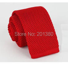 2017 solid knit red skinny neck ties for men wool Crochet black adult necktie blue cravat(China)