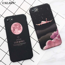 USLION Luxury Cartoon Stars Space Moon Case For iPhone 7 Case Airplane Frosted Hard PC Cover Phone Cases For iPhone7 6 6s Plus