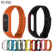 Buy FI FEI Colorful Silicone Wrist Strap Bracelet Double Color Replacement Watchband Miband 2 Xiaomi Mi band 2 Wristbands for $1.64 in AliExpress store