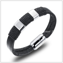 "8.07""*13mm 21g Promotion Sale Stainless Steel Silver Gold Buckle Black Genuine Leather Bracelet Bangle For Men Women Lovers Gift"