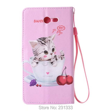 For Samsung Galaxy J7 J3 J5 A3 A5 2017 Cartoon Strap Wallet Leather Case Stand TPU Card Cat Don't Touch my Cell phone Cover 1pcs