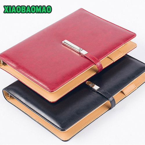 High quality PU cover A5 Notebook Journal Buckle Loose leaf Planner Diary Business buckle notebook business office school gift<br>
