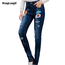 jeans women large size beggar torn tight elastic cowboy stretch hole Slim denim trousers decoration printing pig head wangcangli