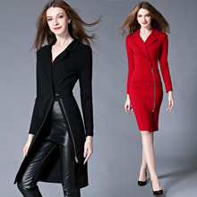 New Autumn Winter Women Office Work Wear Dress Fashion Two Style Windbreaker Slim Bodycon Christmas Party Dresses