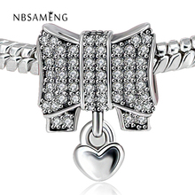 Buy Authentic 925 Sterling Silver Bead Charms Heart & Bow Full Crystal Beads Fit Pandora Charm DIY Bracelets & Bangle DIY Jewelry for $6.85 in AliExpress store