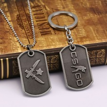 New Counter Strike Cs go metal keychain dog tag pendant key holder CSGO Collier jewelry theme of the game series(China)