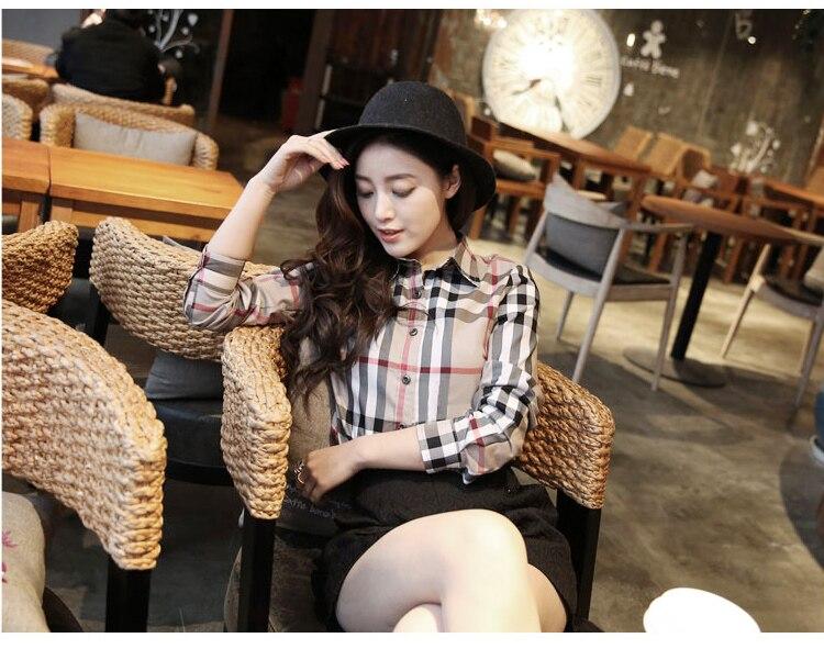 2018 Spring New Plaid Shirt Women Tops Square Collar Long Sleeved Blouses Female Casual Slim Blouse Blusas Plus Size 3XL CXM432