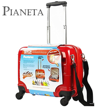 Children's Suitcase Cute Kids Luggage Spinner Ride on Suitcase Red Color Roller Hard Case Travel Case for Boy's and Girl's(China)