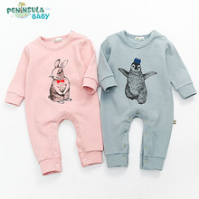 2017 Cotton Soft Newborn Baby Romper For Infant Girl Boy Spring Clothes Rompers Rabbit Pattern Jumpsuits One-piece Suits Outwear(China)