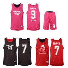 Reversible Two-sided Basketball Set Print LOGO Name M-5XL Team Clothes Men's Suit Sportear Shirt +Shorts Breathable Quick dry