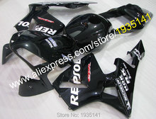 Hot Sales,Custom ABS Body Kit For Honda CBR600 RR 2003 2004 CBR 600 RR 03 04 Black Repsol Motorcycle Fairing (Injection molding)