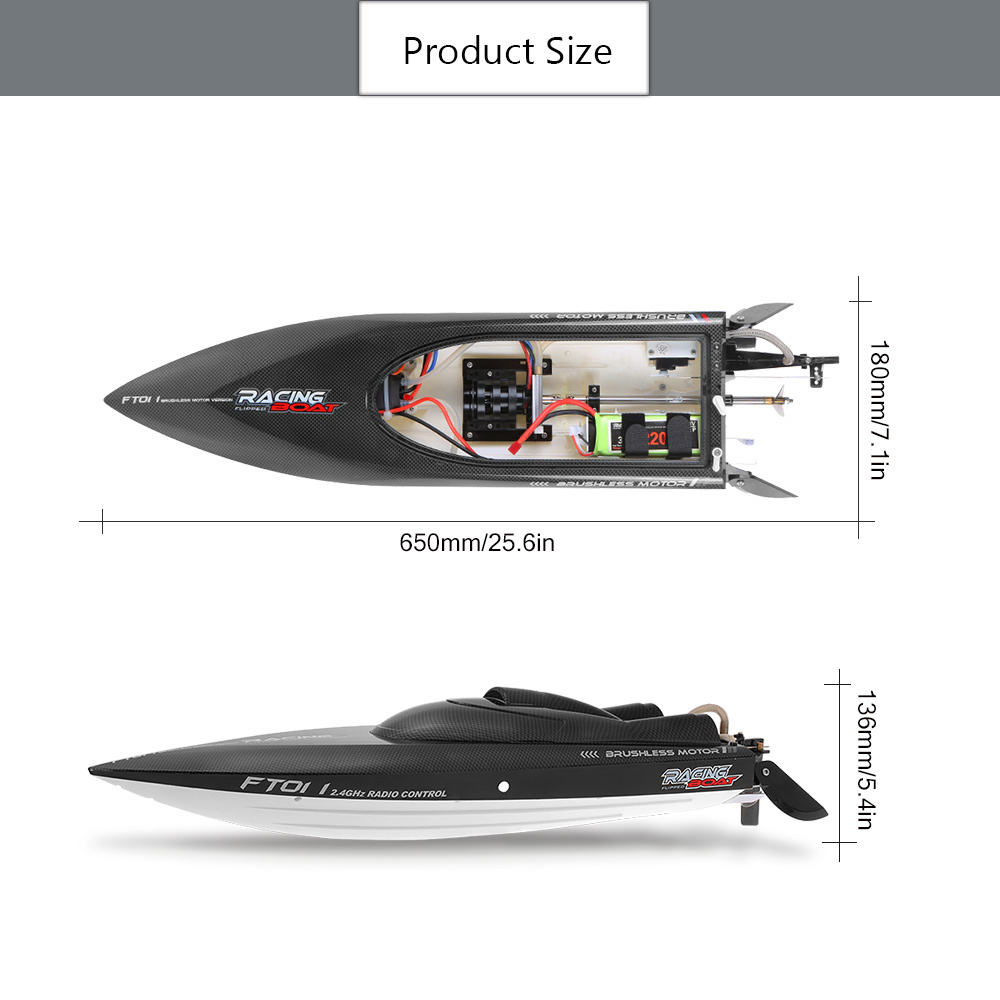 Feilun FT011 2.4G 55kmh High Speed RC Boat Racing Boat with Water Cooling Flipped Self-righting Function Ship Speedboat Toys (5)