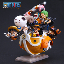 One Piece Going Merry with Luffy Sanji Zoro Nami Robin Usopp Chopper Franky Brook PVC Action Figure Toys Dolls