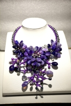 Fancy Gray Pearl Purple Agates flower necklace fashion agates  jewelry