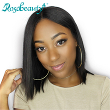 Rosabeauty Straight Human Hair Bob Lace Front Wigs with Baby Hair Brazilian Remy Hair Short Hair Wig For Black Women(China)