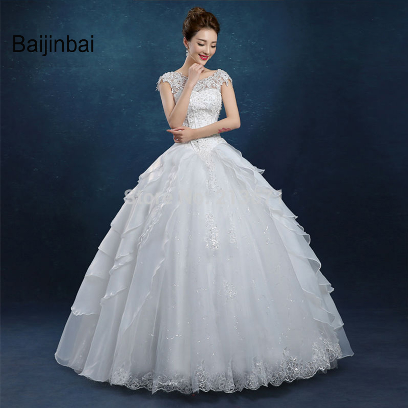 Baijinbai 2017 New Real Vestido De Noiva Sleeveless Lace Appliques Wedding Dresses 2017 Cheap Lace Tiered Bridal Dress7122602