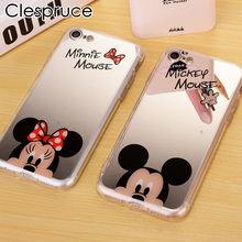 Fashion For iPhone X 7 8 Plus Mirror Case Mickey Minnie Mouse TPU soft Mobile Phone Cases For iPhone 7 5 5S SE 6 6S 6 Plus Cover(China)