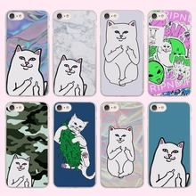 brand Cute Popular middle finger cat Style transparent clear phone shell case for Apple iPhone 6 6s Plus 7 7Plus SE 5 5s