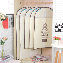 5PCS home clothes dust cover transparent thickening clothing hanging clothes bags non - woven clothing dust cover D0124