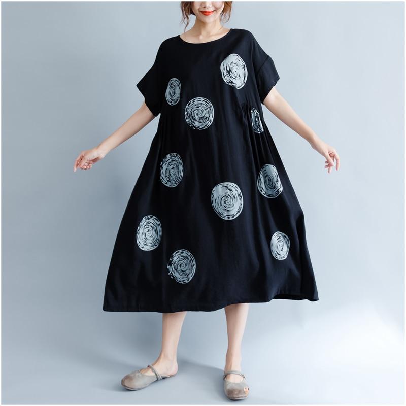 DIMANAF Women Summer Dress Big Size Cotton Linen Casual Soft Style Black Polka Dot Oversized Loose Female Sundress Clothing 2018 15