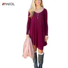 Vancol Long Sleeve Cotton O Neck Solid Color Plus Size XL Desinger High Waist Women Clothing Female Vestido Loose Dress Women(China)