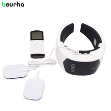Beurha Electric Pulse Wireless Remote Control Neck Massager Cervical Vertebra Therapy Acupuncture Relaxation Massage Health Care(China)