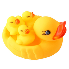 4PCS Bath Toys Pool Water Float Squeaky Yellow Rubber Ducks Kids Baby Brinquedos Squeeze-sounding Dabbling Bathroom Water Toy(China)